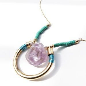 Beautiful delicate necklace with amethyst stone